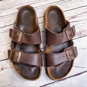 Birkenstock Arizona Sandals Brown Buckle Strap